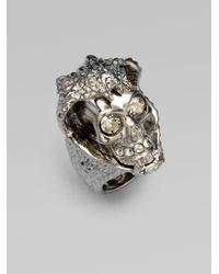 Alexander McQueen | Metallic Snake Skull Ring | Lyst