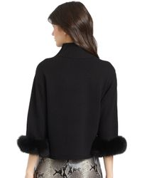 Alice + Olivia | Black Gilda Fur-cuff Sweater | Lyst
