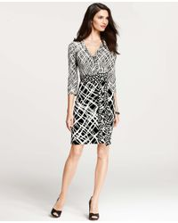 Ann Taylor | Black Petite Mixed Print 3/4 Sleeve Wrap Dress | Lyst