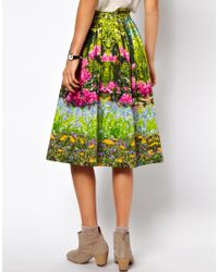 ASOS Collection Multicolor Midi Skirt in Spring Woodland Print