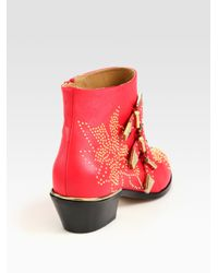 Chloé   Red Studded Leather Buckle Ankle Boots   Lyst