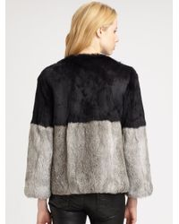 Cut25 by Yigal Azrouël Black Colorblock Rabbit Fur Coat