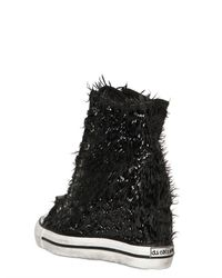 Black Dioniso Black 80mm Patent Calfskin Fringe Wedge Shoe