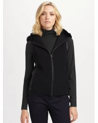 Elie Tahari | Black Fur & Leather Trimmed Knit Vest | Lyst