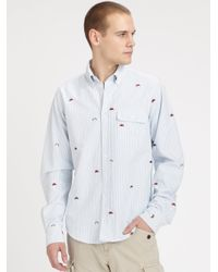 GANT - Blue Embroidered Oxford Shirt for Men - Lyst
