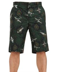 Givenchy Green Paisley Plane Poplin Bermuda Shorts for men