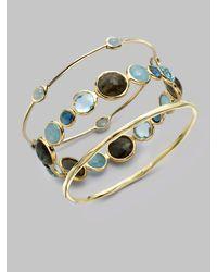 Ippolita - Metallic 18k Gold Milky Aquamarine Station Bangle Bracelet - Lyst
