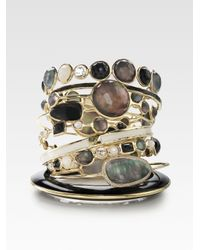 Ippolita | Metallic Black Shell & 18k Gold Lollipop Bracelet | Lyst