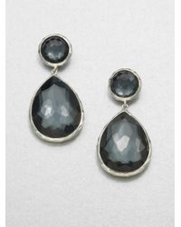 Ippolita | Metallic Wonderland Hematite, Clear Quartz & Sterling Silver Teardrop Snowman Doublet Post Earrings | Lyst