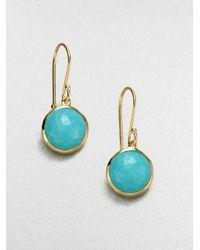 Ippolita - Blue Lollipop Turquoise & 18k Yellow Gold Mini Drop Earrings - Lyst