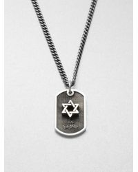 King Baby Studio - Metallic Sterling Silver Star Of David Dog Tag Necklace - Lyst