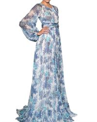 Luisa Beccaria Blue Silk Chiffon Printed Long Dress
