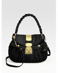 Miu Miu Black Small Matelasse Coffer Bag