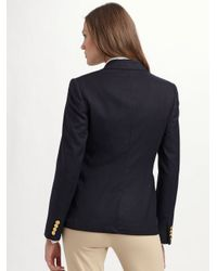 Ralph Lauren Blue Label - Black Custom Wool Crested Blazer - Lyst