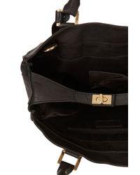 TOPSHOP Black Croc Leather Insert Tote Bag