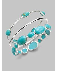 Ippolita | Blue Turquoise Cabochon & Sterling Silver Bracelet | Lyst