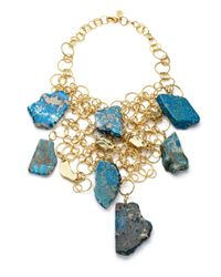 Kara Ross | Blue Turquoise Agate Nugget Bib Necklace | Lyst
