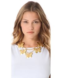 Kenneth Jay Lane - Metallic Layered Butterfly Necklace - Lyst