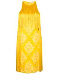 Stella McCartney | Yellow Fringed Lace And Crepe Dress | Lyst