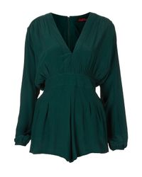 TOPSHOP | Green Jet Playsuit By Motel | Lyst