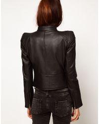 ASOS Collection - Black Structured Leather Biker Jacket - Lyst
