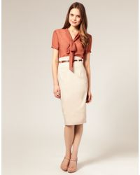 ASOS Collection - Natural Asos Belted Corset Waist Pencil Skirt - Lyst