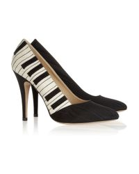 Charlotte Olympia White Piano Satin Twill Covered Leather Pumps