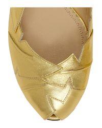 Charlotte Olympia Metallic Leather Ballet Flats