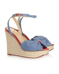 Charlotte Olympia Blue Melody Denim and Rope Wedge Sandals