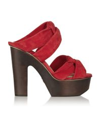 Charlotte Olympia Red Christina Suede and Wooden Platform Sandals