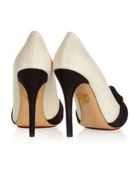 Charlotte Olympia White Ava Twotone Canvascovered Leather Pumps