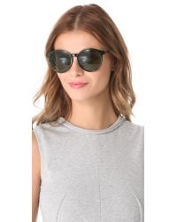 The Row - Green Rounded Leather Sunglasses - Lyst