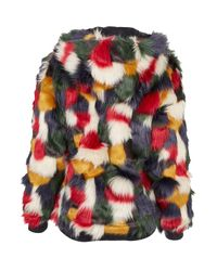 TOPSHOP Multicolor Patchwork Faux Fur Hooded Coat