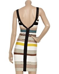 Hervé Léger | White Cutout Striped Bandage Dress | Lyst