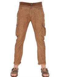 John Galliano | Brown 18cm Light Cotton Slim Cargo Trousers for Men | Lyst