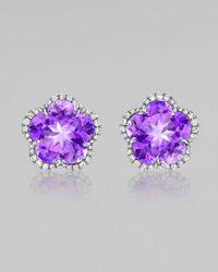 Kiki McDonough | Purple Grace Flower Amethyst Diamond Earrings | Lyst