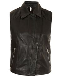 TOPSHOP Black Contrast Leather Sleeveless Biker Jacket