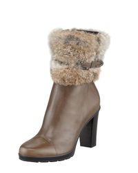 Aquatalia | Brown Pop Weatherproof Rabbit-Cuff Ankle Boots | Lyst