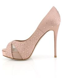 Valentino | Pink Poudre Satin Crystal Pump | Lyst
