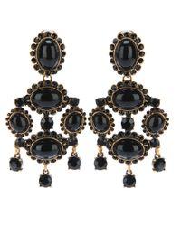 Oscar de la Renta | Black Gold-plated Crystal Clip Earrings | Lyst
