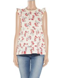 RED Valentino - Multicolor Floral-print Cotton Top - Lyst