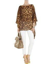 Michael Kors - Multicolor Leopard-print Silk-chiffon Top - Lyst