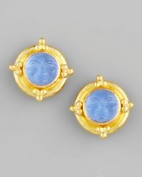 Elizabeth Locke - Blue Maninthemoon Intaglio Stud Earrings - Lyst