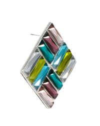 ASOS - Multicolor Disco Square Earring - Lyst