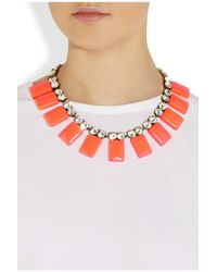 J.Crew | Orange Crystal and Resin Tile Necklace | Lyst