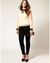 ASOS Collection - Natural Asos Curve Lace Top with Binding - Lyst