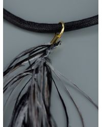 MM6 by Maison Martin Margiela - Black Feather Necklace - Lyst