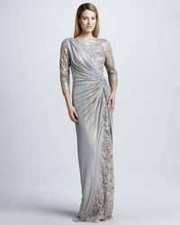 Tadashi Shoji - Metallic Sequined Lace Jersey Gown - Lyst