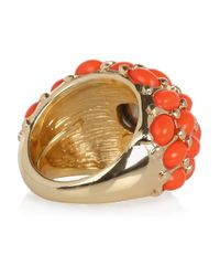 Kenneth Jay Lane - Orange Plated Cubic Zirconia Ring - Lyst