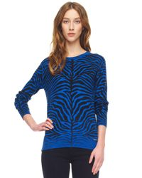 Michael Kors | Blue Zebra Print Sweater | Lyst